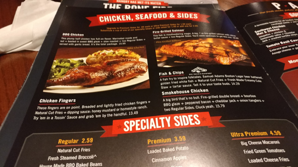 One of the pages of the menu showing chicken