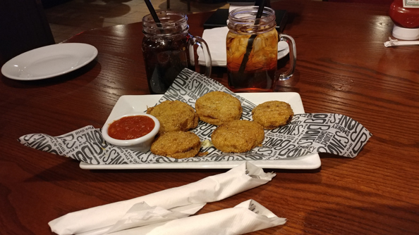 Fried green tomatoes with marinara sauce