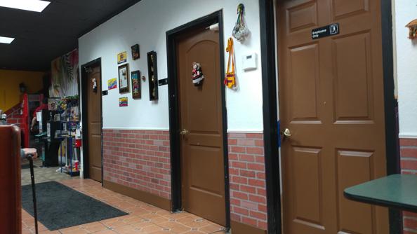 Restaurant restrooms.