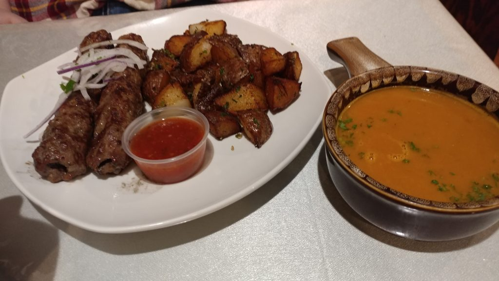 Lamb and sauce and soup