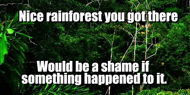 Nice rainforest you got there. Would be a shame if something happened to it.